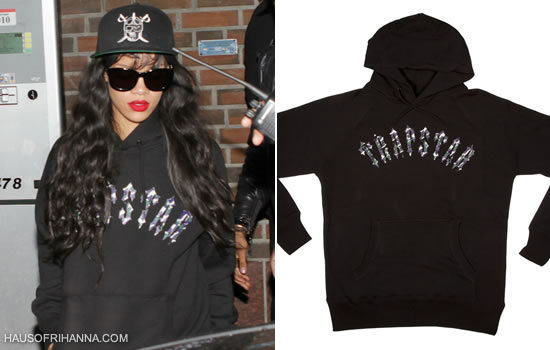 Rihanna in Trapstar Irongate snapback cap and Iblack rongate Camo hoodie