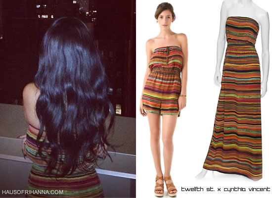 Rihanna in Twelfth Street by Cynthia Vincent striped romper or dress