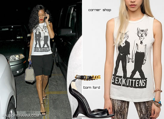 Rihanna in Corner Shop's Sex Kitten t-shirt and Tom Ford chain embellished ankle strap wedges