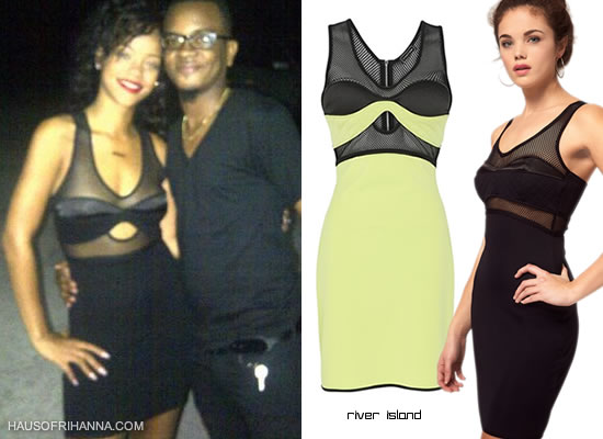 Rihanna In Black River Island Airtex Mesh Dress
