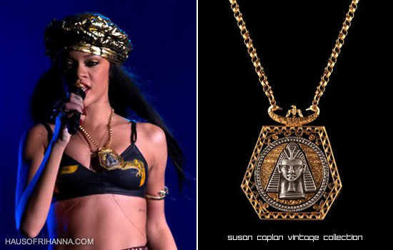 Rihanna at Peace & Love festival wearing egyptian necklace from Susan Caplan