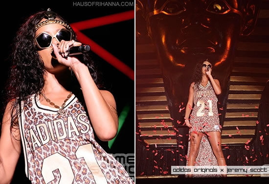 Rihanna in Adidas Originals by Jeremy Scott Spring/Summer 2013 basketball jersey dress