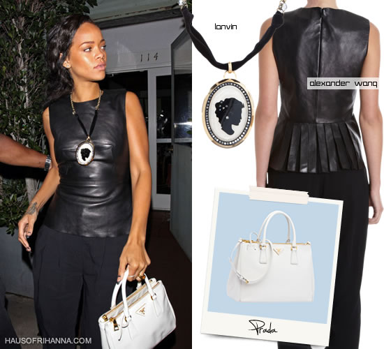 Rihanna in Alexander Wang leather shirt, white Prada Saffiano Lux tote and Lanvin cameo necklace
