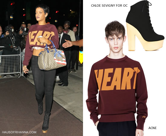 Rihanna In Acne College Heart Sweatshirt and Chloe Sevigny for Opening Ceremony black Mary Ellen boots
