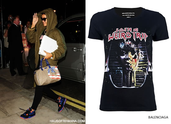Rihanna in Balenciaga's Join A Weird Trip t-shirt