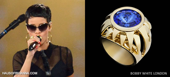 Rihanna wearing Bobby White rings