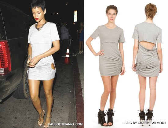 Rihanna In Jersey Armour Graeme grey open back dress with side hole