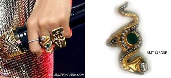 Rihanna at iHeart Radio Festival wearing rings by Pamela Love and Amy Zerner