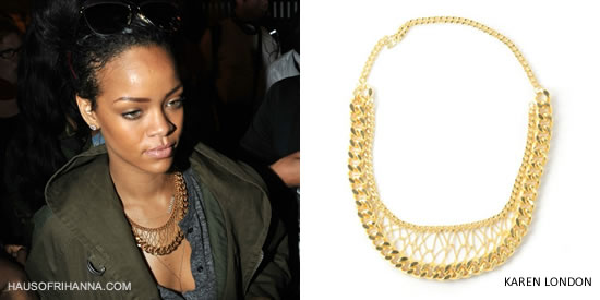 Rihanna In Karen London Give Me Your Leather Necklace
