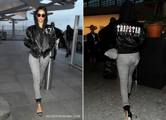 """Rihanna in House of Holland Cage Fighter sunglasses, Isaora grey sweatpants, Manolo Blahnik Chaos sandal and Trapstar x Hitman jacket"