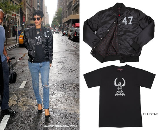 Rihanna in Trapstar x Hitman Stadium jacket, Trapstar Living t-shirt and Henry Holland Cage Fighter sunglasses