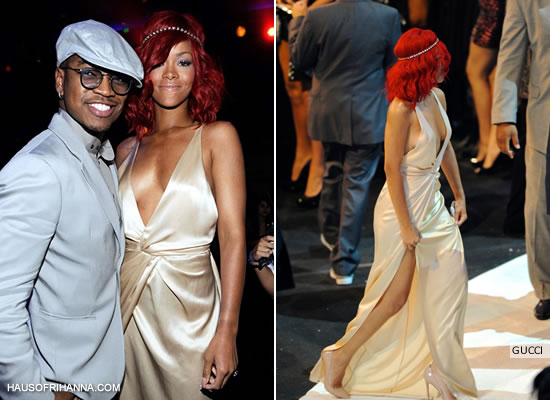 Rihanna at the MTV Video Music Awards 2010 wearing a gown by Gucci