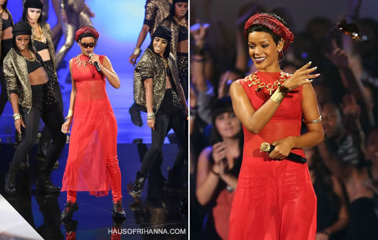 Rihanna at the 2012 MTV VMAs in red Adam Selman dress, red Balenciaga leather pants and Air Jordan 2012 A sneakers