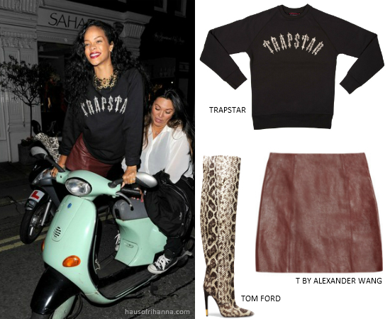 Rihanna in Trapstar sweatshirt, T by Alexander Wang leather mini skirt and Tom Ford python boots