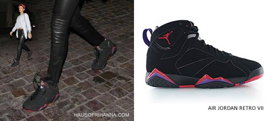 Rihanna in Air Jordan Retro VII Raptor sneakers