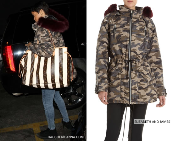 Rihanna in Elizabeth and James camo parka with fox fur hood, all black Converse high top sneakers and Louis Vuitton Rayure Neverfull striped handbag