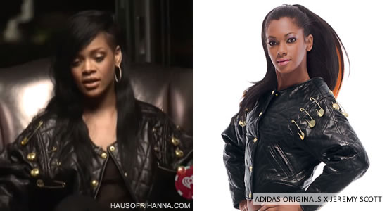 Rihanna in Adidas Originals by Jeremy Scott Fall/Winter 2012 black quilted jacket with gold safety pins