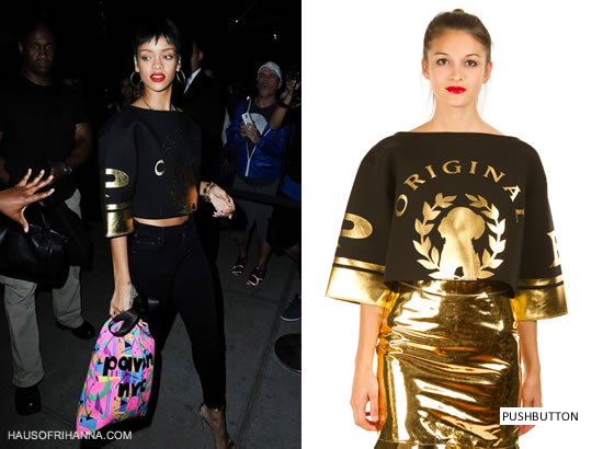 Rihanna in Pushbutton Original cropped tee, Citizens of Humanity black skinny jeans