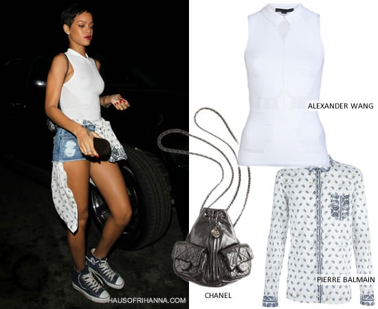 Rihanna in Alexander Wang white mesh technical sleeveless shirt with collar, Pierre Balman paisley bandana print shit, navy blue Converse high top sneakers and Chanel Fall 2012 mini backpack