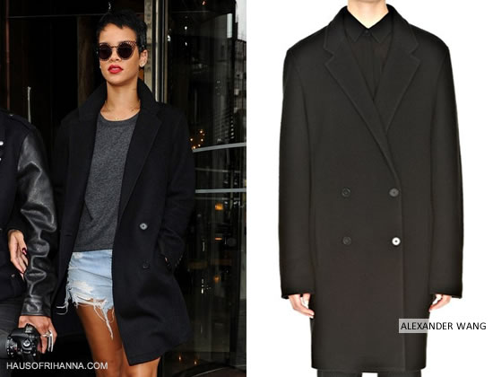 Rihanna in Alexander Wang Brushed Felt Double breasted coat