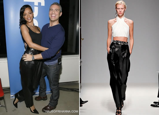 Rihanna in Balmain Spring/Summer 2013 pleated leather pants