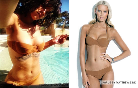 Rihanna celebrates in brown Charlie by Matthew Zink Jerry bikini