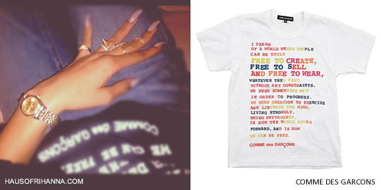 Rihanna wearing Comme des Garcons Free To Create, Free To Sell and Free To Wear t-shirt