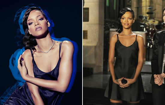 Rihanna SNL promo shoot - Marc Jacobs black slip dress and Ann Demeulemeester thigh high boots