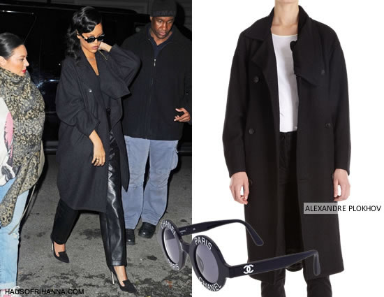 Rihanna in Alexandre Plokhov drape back coat and Chanel Paris logo frame sunglasses
