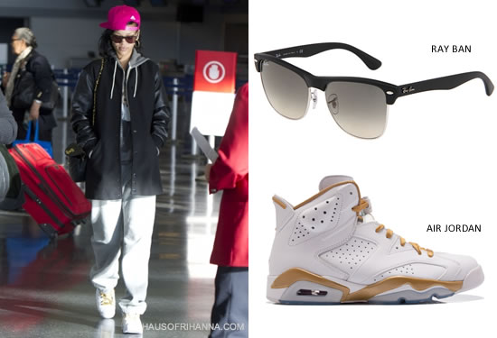Rihanna in Ray Ban Highstreet sunglasses, Air Jordan Retro VI white golden moments sneakers, Corner Shop bag lady t-shirt, Givenchy long bomber jacket