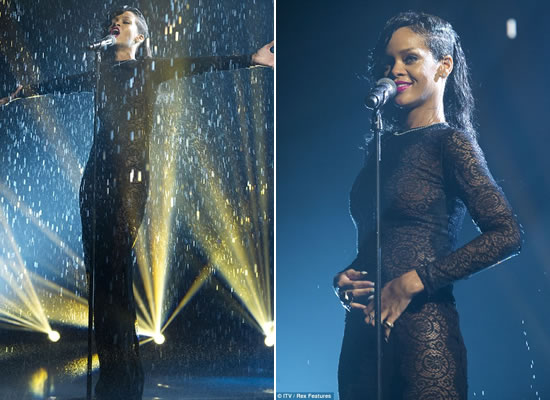 Rihanna performing on X Factor UK wearing black lace dress by Stella McCartney