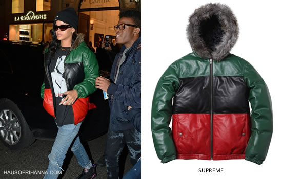 Rihanna wearing Supreme green, black and red leather down jacket with fur trimmed hood