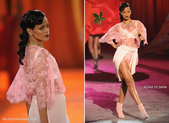 Rihanna at the Victoria's Secret fashion show wearing pink Adam Selman