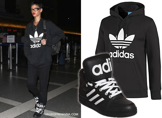 Rihanna wearing Adidas Originals Trefoil hoodie and Adidas Originals by Jeremy Scott Instinct high top sneakers