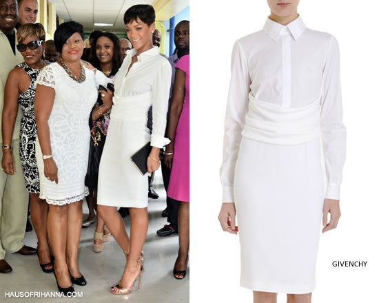 Rihanna in Barbados wearing white Givenchy Cady shirt dress