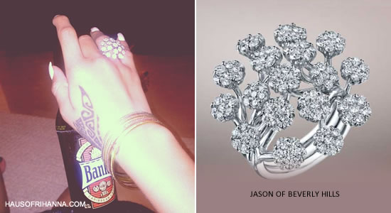 Rihanna in Jason of Beverly Hills diamond cluster ring