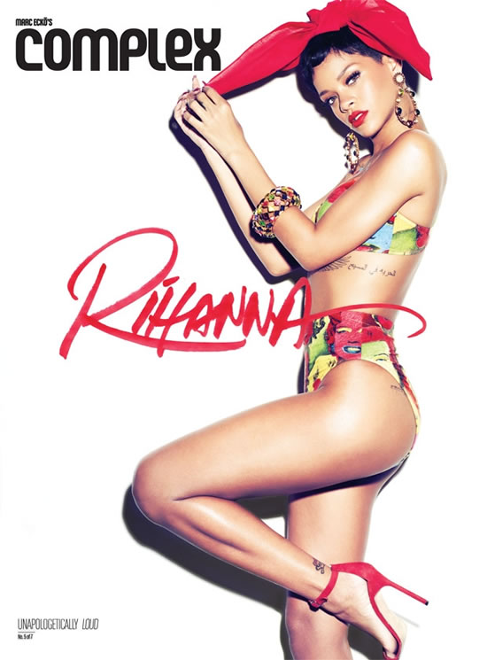 Rihanna in Complex magazine wearing vintage Gianni Versace Marilyn Monroe and James Dean pop art print bikini and Manolo Blahnik sandals