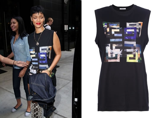Rihanna In Givenchy Sleeveless Logo Printed T-Shirt