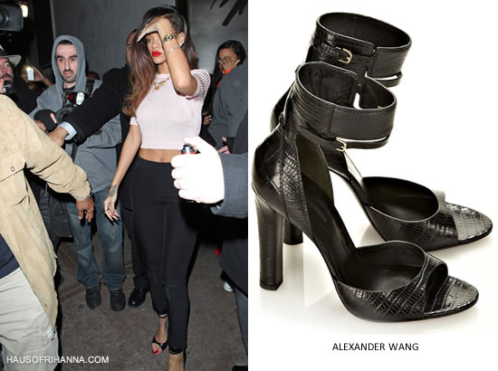 Rihanna in black Alexander Wang Aminata sandals