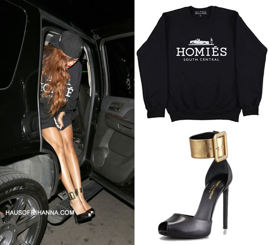 Rihanna in Brian Lichtenberg homies sweatshirt and Saint Laurent gold ankle strap heels