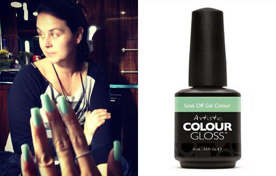 Rihanna wearing Artistic Colour Gloss gel polish in Charming