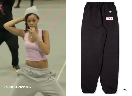 Rihanna at Diamonds World Tour rehearsals in Fuct Patch hooded yard suit sweatpants