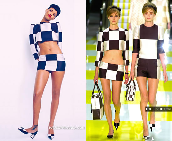 Rihanna in Elle UK April 2013 wearing Louis Vuitton Spring/Summer 2013 outfit