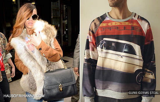 Rihanna in Prada fur jacket and Guns Germs $teal 1962 Ragtop Impala crewneck sweatshirt