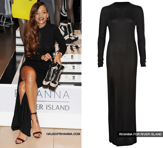 Rihanna at the Rihanna for River Island launch in black maxi dress