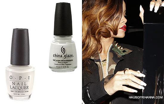 Rihanna wearing white nail polish