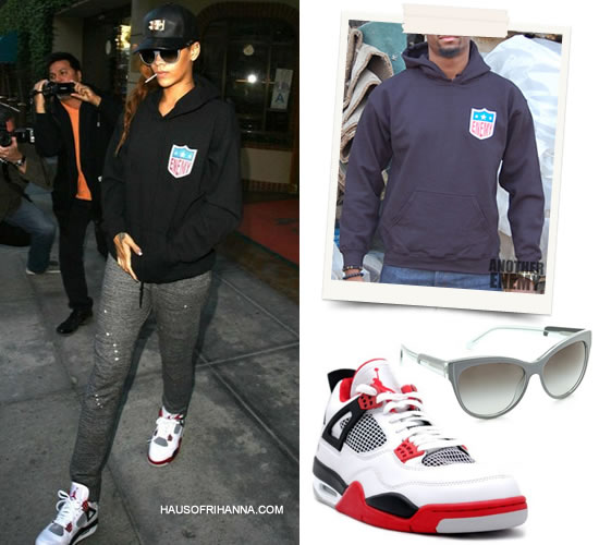 Rihanna in Another Enemy EFL logo hoodie, Nike Air Jordan Retro IV sneakers, Stella McCartney cateye sunglasses, OATW Collier de chien cap