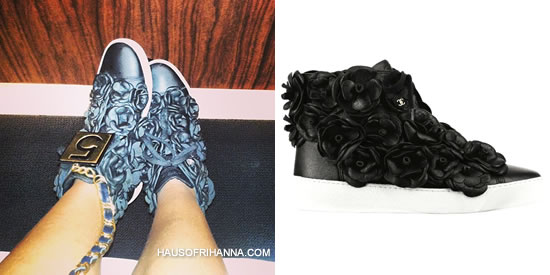 Rihanna in Chanel floral sneakers