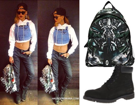 Rihanna with Givenchy printed aeroplane backpack and Timberland black boots