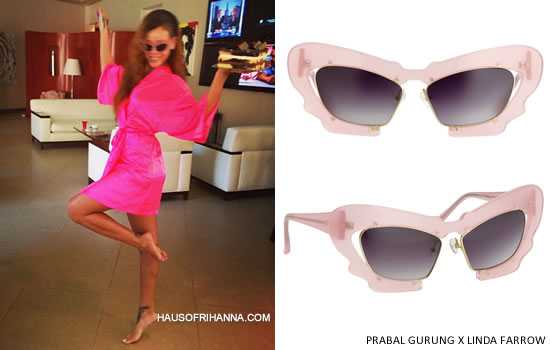 Rihanna in Prabal Gurung by Linda Farrow pink Prabal Gurung 1 sunglasses